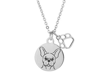 French Bulldog Charm Necklace, Stainless Steel Frenchie Charm Necklace, French Bulldog Jewelry, French Bulldog Gift, Frenchie Gift