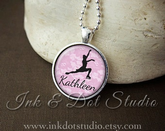 Personalized Necklace, Ice Skater Silhouette Pendant, Ice Skating Necklace, Personalized Skater Gift, Figure Skating Necklace