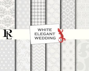 White Wedding Digital Paper Pack -  white grey elegant Digital Background - Paper background -  white paper pack - paper scrapbooking