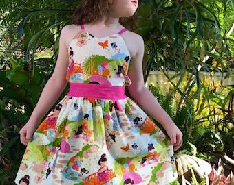 Girls Summer Opened Back Dress, Oriental Gardens