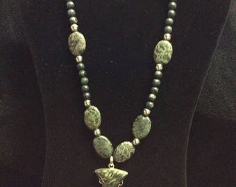 Absolutely Beautiful Vintage Black Mottled Jasper Necklace