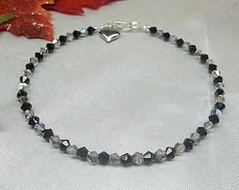 Jet Black Ankle Bracelet Gray Anklet Crystal Anklet Black Crystal Anklet Silver Heart Anklet 925 Sterling Silver Anklet BuyAny3+Get1 Free
