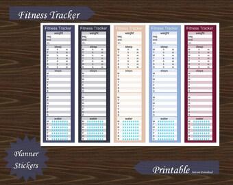 Sidebar Fitness Exercise Water Steps Sleep Weight Tracker Erin Condren Planner Printable Instant Download #P018-3