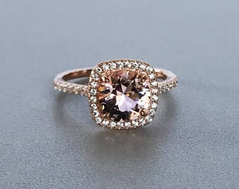 Round Cut Morganite Engagement Ring Art Deco Simulated Diamond Halo Sterling Silver Promise Wedding Ring