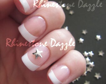 5mm Silver Star Studs, Nail studs, Metallic Studs, 3D Nail Design, DIY Nail Art, Silver Stars, Metal Studs, Silver Nailart, Nail Decoration