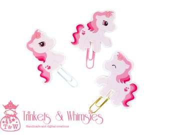 Pink Unicorn Paper Clip | Planner Page Marker | Planner Accessory (1 Set)