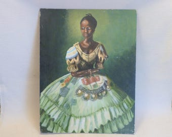 Creole Girl Painting - Oil on Canvas Board - Unframed (stock #6465)