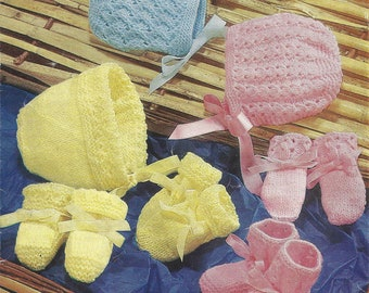 PDF Instant Digital Download baby bonnets bootees mittens knitting pattern (691)