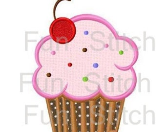 Cherry cupcake applique machine embroidery design instant download