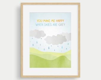 You Make Me Happy, Nursery Wall Art Print, Gender Neutral Baby Gift, Baby Room Decor Girl, Nursery Art Boy, Baby Shower Gift, New Baby Gift
