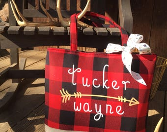 Red Buffalo Plaid Large Tote Diaper bag