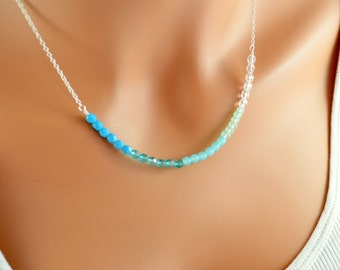 Blue Ombre Necklace, Silver Plated Chain, Czech Glass Beads, Aqua Chalcedony Gemstone, Shaded, Wire Wrapped Jewelry