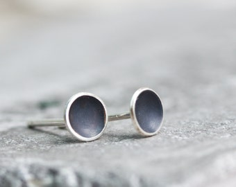Cup studs, dish studs, oxidized sterling silver stud earrings, minimal, simple every day earrings