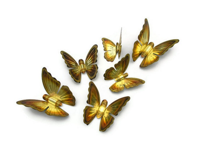 Brass Butterflies Golden Metal Butterfly Vintage Wall Art or Upcycle With Glass Glitter Instant Collection