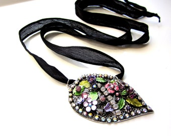 Leaf Pendant Mosaic Necklace, Fairy GOA Necklace, BOHO Necklace, Silk Ribbon Jewelry, Nature Botanical Jewelry OOAK, Leaf Fairy Jewelry
