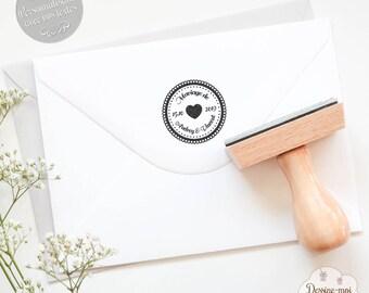 """Tampon mariage personnalisé """"Rétro"""" - pour une décoration originale de vos faire-parts / enveloppes de mariage"""