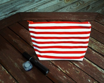 Striped Make Up Bag, Zipper Pouch, Cosmetic Bag, Handmade, Red and White striped Women, Organize