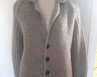 Vintage SCAGLIONE made in ITALY wool alpaca button front cardigan jacket sweater xl