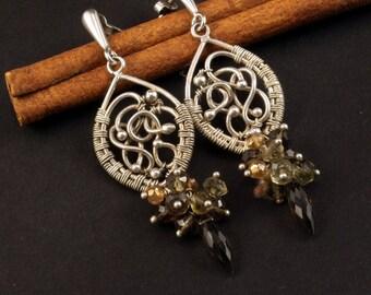 smokey quartz dangle earrings, wire-wrapping jewelry, wire-wrapped silver earrings