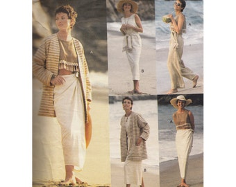 Vintage 90s Jacket/Dress/Top/Skirt/Pants & Sash UNCUT Vogue Sewing Pattern 1384 Sizes 8-12 Bust 31.5-34 5 Easy Pieces Very Easy to Sew
