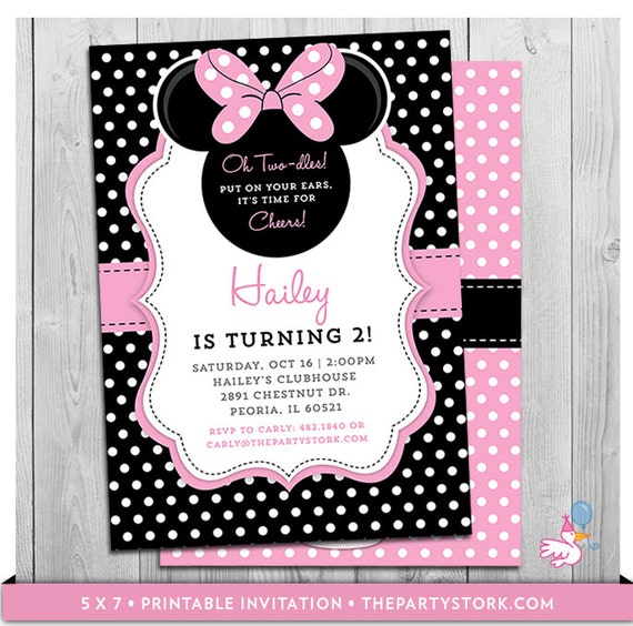 Minnie mouse birthday invitations printable oh twodles party filmwisefo