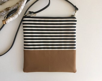 Stripes & Vegan Crossbody Purse // Crossbody Bag // Purse // Vegan Purse // Vegan // Vegan Crossbody Bag // Shoulder Bag