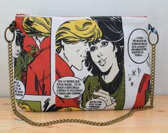 Comic bag, comic clutch,chain clutch, canvas bag, comic handbag, comic tote, comic fabric,popart bag, pop-art bag, canvas clutch