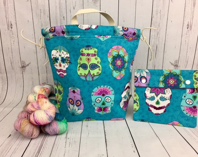 Day of the Dragonfly Bucket Bag AND Notions Case set, Knitting project bag, Crochet project bag,  Zipper Project Bag, Yarn bowl