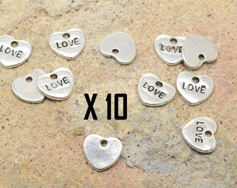 10 x charm Word text message heart love silver metal