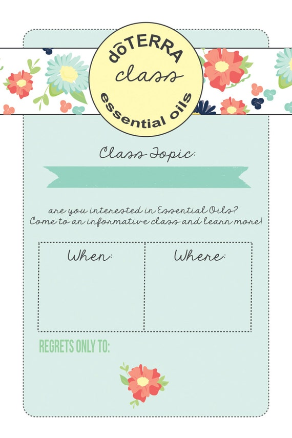 Items similar to 4x6 doTERRA class invitation INSTANT DOWNLOAD