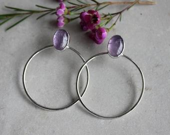 Amethyst Hoop Earrings Sterling Silver