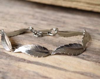Feather bracelet - feather link bracelet, bohemian silver - silver feather bracelet - feather bracelets - gypsy jewelry