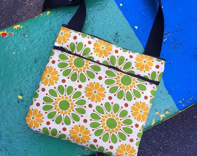 Featured listing image: Green Yellow Vintage Floral Print Saddle Bag, Cross Body Shoulder Bag, Lightweight Cotton Messenger Bag