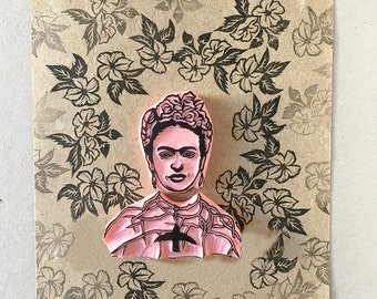 Frida rubber stamp, Frida with hummingbird, thorn necklace, Hand Carved Stamp, Frida Kahlo Fan Gift