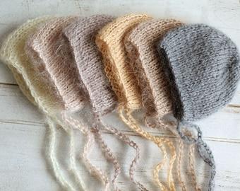 Newborn hat, 10 COLORS, newborn mohair hat, baby girl hat, baby boy hat, new born photo prop, photography