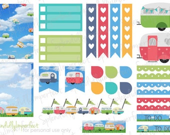 Vintage Glamper stickers for Erin Condren Life Planners