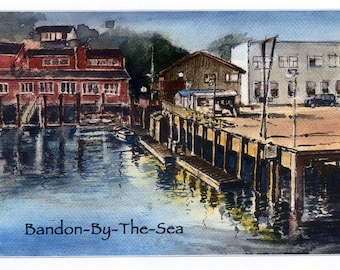 Bandon By The Sea - #82 - 4 Art Cards featuring this watercolor painting by Anthony Coulson.
