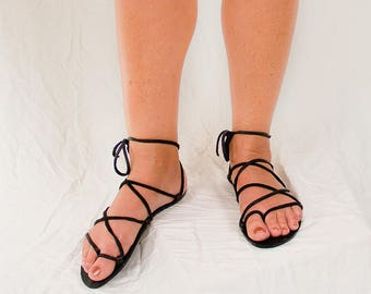 TAHITI BLACK Natural on Black Footbed Lace Up Sandals