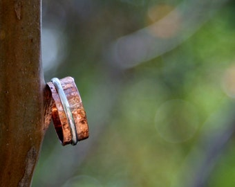 Handmade Hammered Copper and Sterling Silver Spinner/Prayer/Mother's Ring *