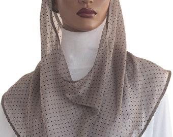 Koul SHôl™ Head Hoodie Devotional Hood Veil Swiss Dot Chiffon Tan Cowl Hoodie Women's Hoodie Hijab Hoodie Handmade
