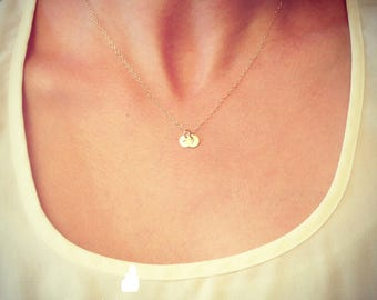"SALE - Two Tiny Customized Initial 1/4"" Disc Necklace in gold - Little Dainty Disc - Personalized - Bridal Gift - thelovelyraindrop"