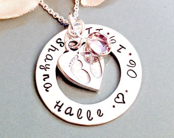 Hand Stamped Mommy Necklace - Personalized Jewelry - Custom Circle of Love Name & Birth Date Necklace with Sterling Silver Tiny Prints Char