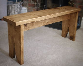 Rustic Waxed Pine Bench