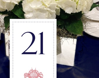 Crab Table Numbers, Nautical, Navy and Red Table Numbers, Beach Wedding Table Numbers, 1 - 50 Instant Download and Print