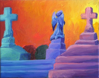 Cemetery Scene 8 x 10 (original acrylic on canvas)