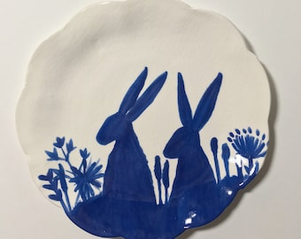 Hares Porcelain Ceramic Plate