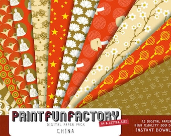 China digital paper - Chinese scrapbook background paper - 12 digital papers (#125) INSTANT DOWNLOAD