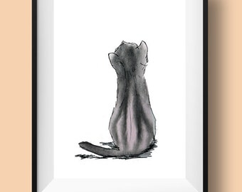 Grey cat watercolor sketch, Cat illustration of cat from back, cat from behind watercolor miniminal cat print small prints for cat lovers