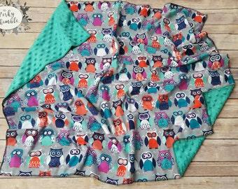 Owl Minky Blanket, Custom Baby Blanket, Gender Neutral Blanket, Baby Girl Blanket, Hand made, Embroidered, Personalized baby shower gift
