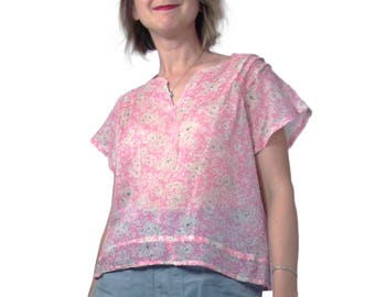 Early 1930s Cotton Blouse in Pink with White and Brown